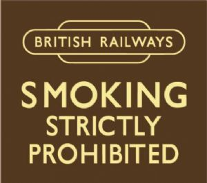 British Railways Smoking Strictly Prohibited enamelled steel wall sign    (dp)